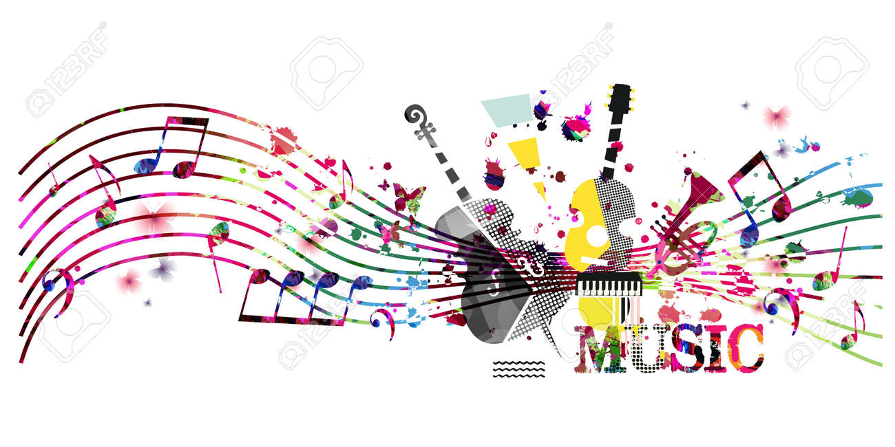 Colorful music promotional poster with music instruments and notes isolated vector illustration. Artistic abstract background for music show, live concert events, party flyer design template - 147806919