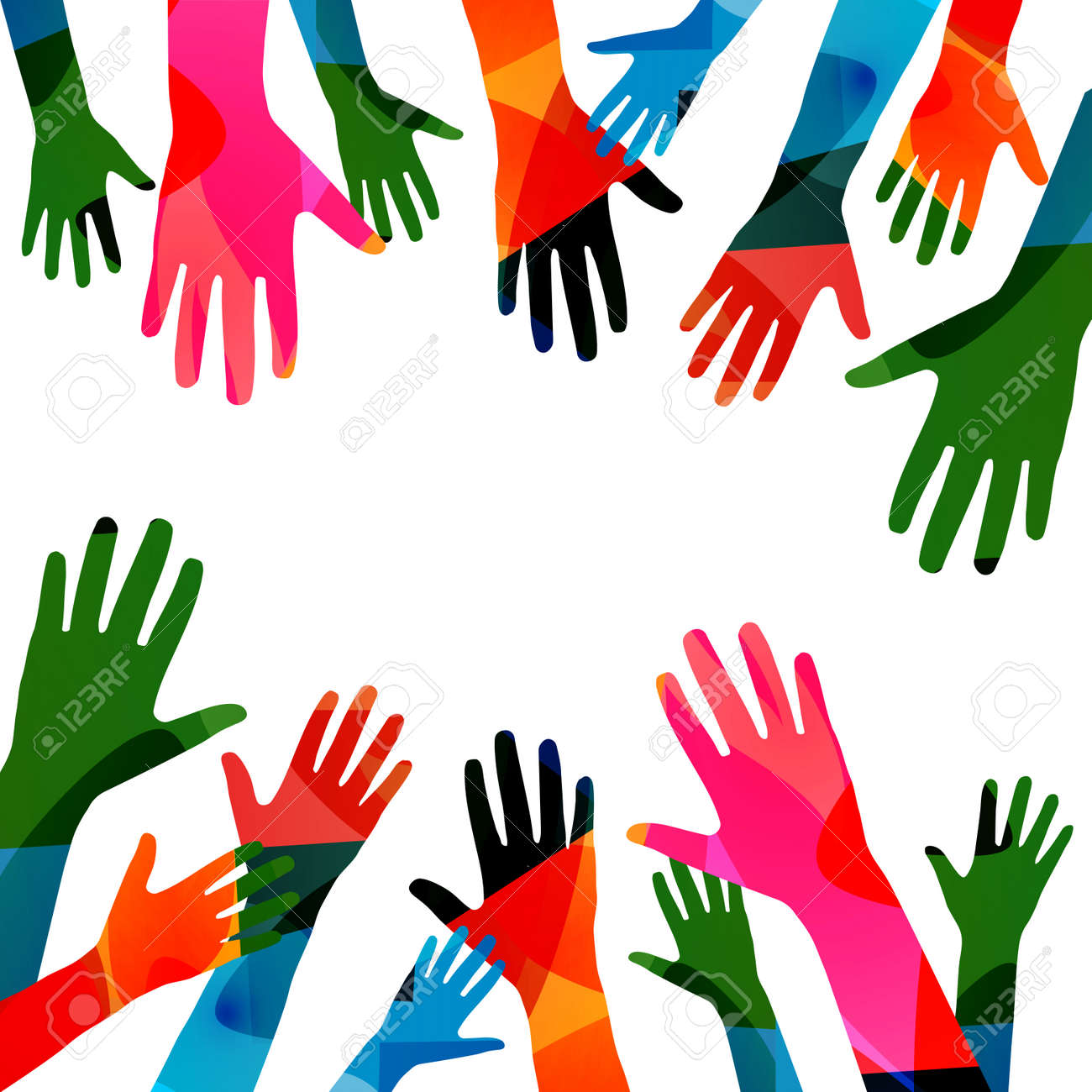 Colorful human hands raised isolated vector illustration. Charity and help, volunteerism, social care and community support concepts - 149793938