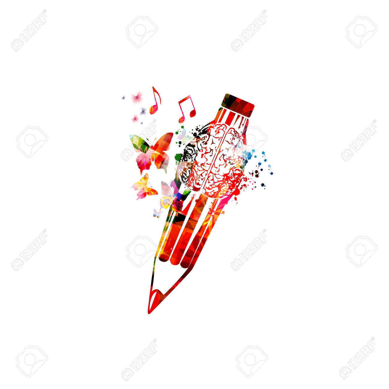 Colorful pencil with brain symbol for creative writing, idea, inspiration, education and learning concept. - 169503074