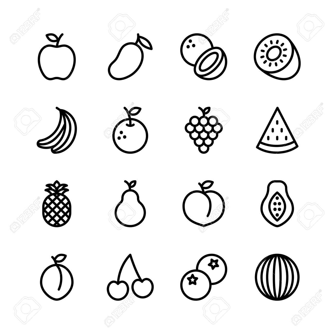 Fruit line icons set, outline style. Vector illustration - 155846140