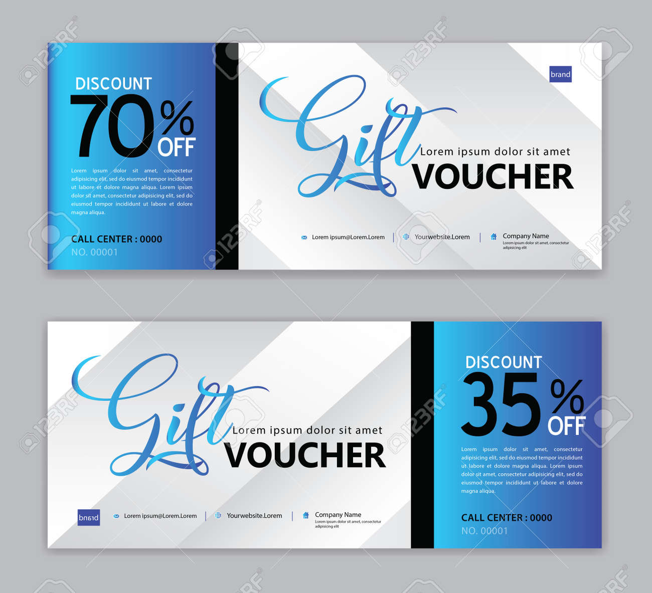 Gift Voucher template, Sale banner, Horizontal layout, discount cards, headers, website, blue background. - 120691911