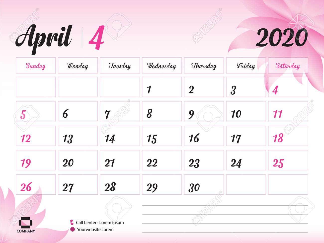 April Printable Calendar 2020.April 2020 Year Template Calendar 2020 Desk Calendar Design