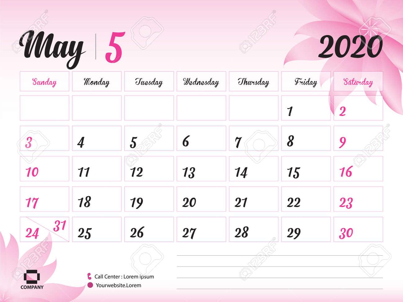 May Printable Calendar 2020.May 2020 Year Template Calendar 2020 Desk Calendar Design