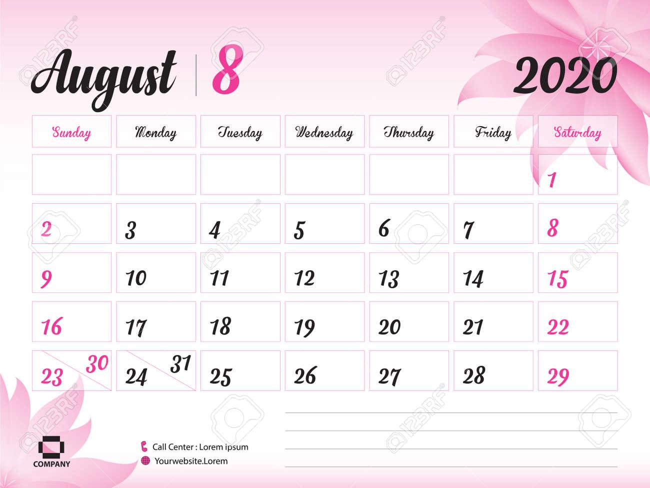Printable Calendar August 2020.August 2020 Year Template Calendar 2020 Desk Calendar Design