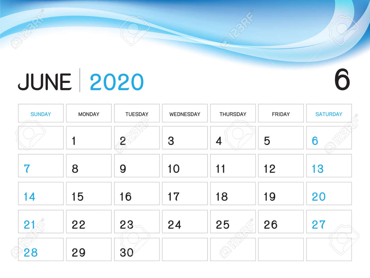 Calendar June 2020.June 2020 Year Template Calendar 2020 Vector Desk Calendar