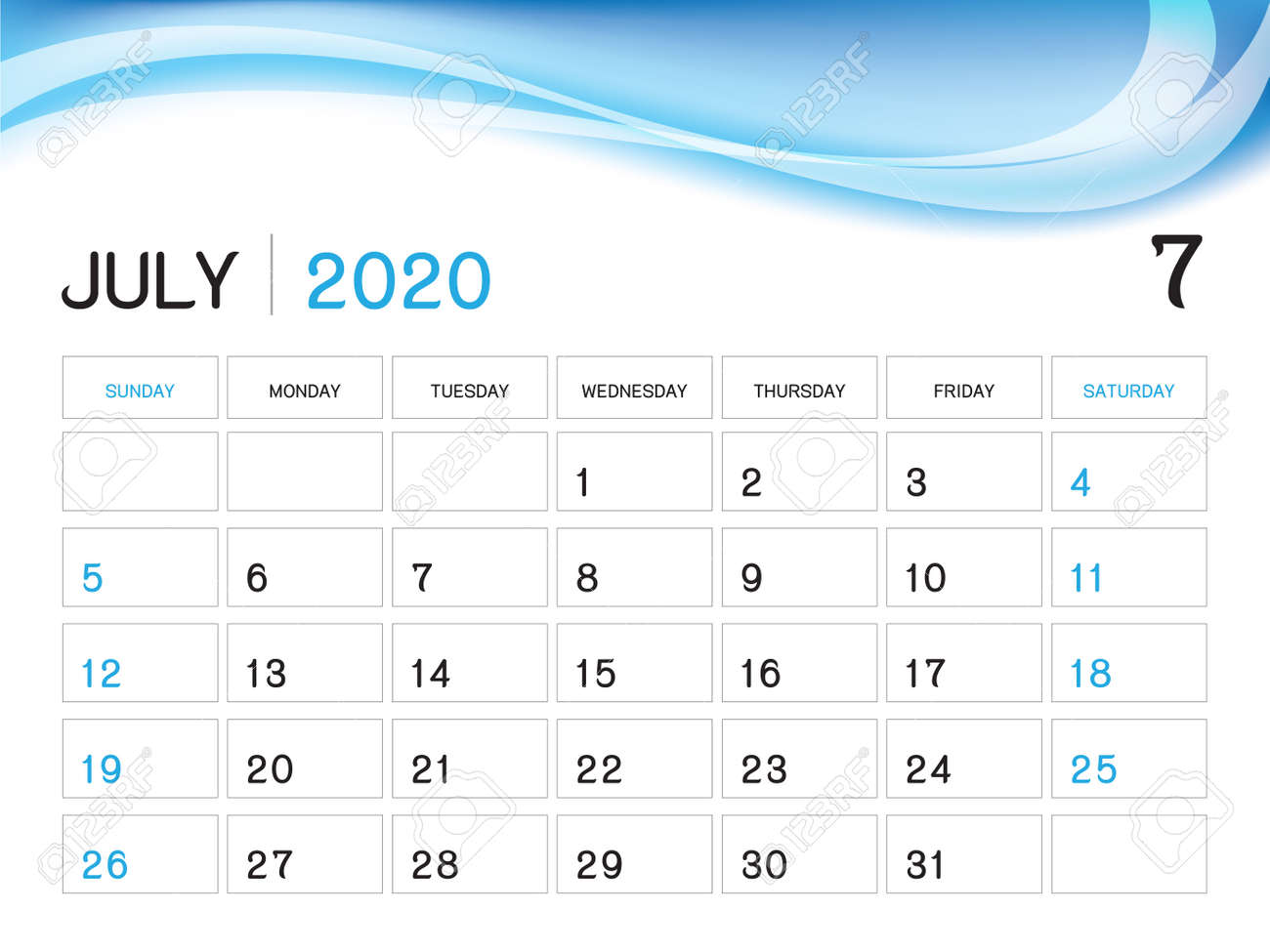 Printable Calendar July 2020.July 2020 Year Template Calendar 2020 Vector Desk Calendar