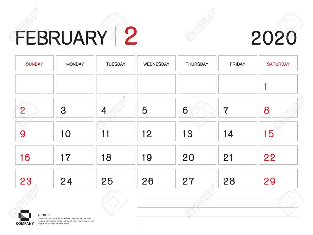 Ut Calendar 2020 FEBRUARY 2020 Year Template, Calendar 2020 Vector, Desk Calendar