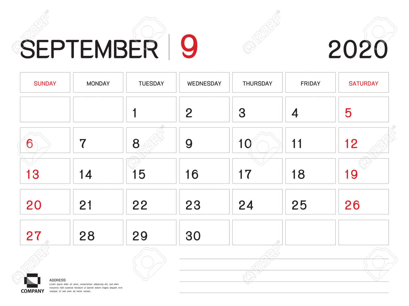 Ut 2020 Calendar SEPTEMBER 2020 Year Template, Calendar 2020 Vector, Desk Calendar