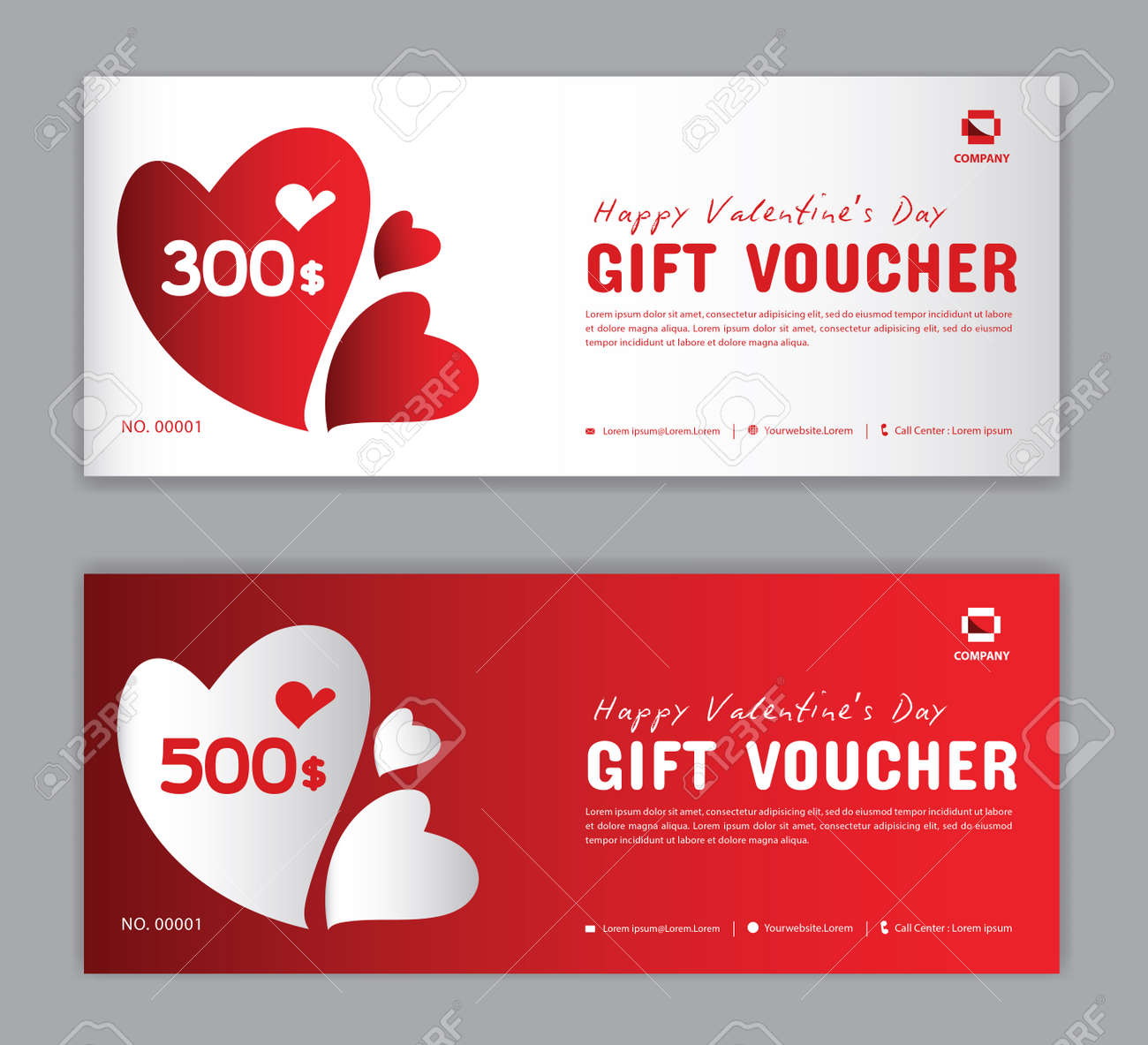 Gift Voucher template, Coupon, discount, for Happy Valentine Day, Sale banner, Horizontal layout, discount cards, headers, website, red background, vector illustration EPS10 - 137632455