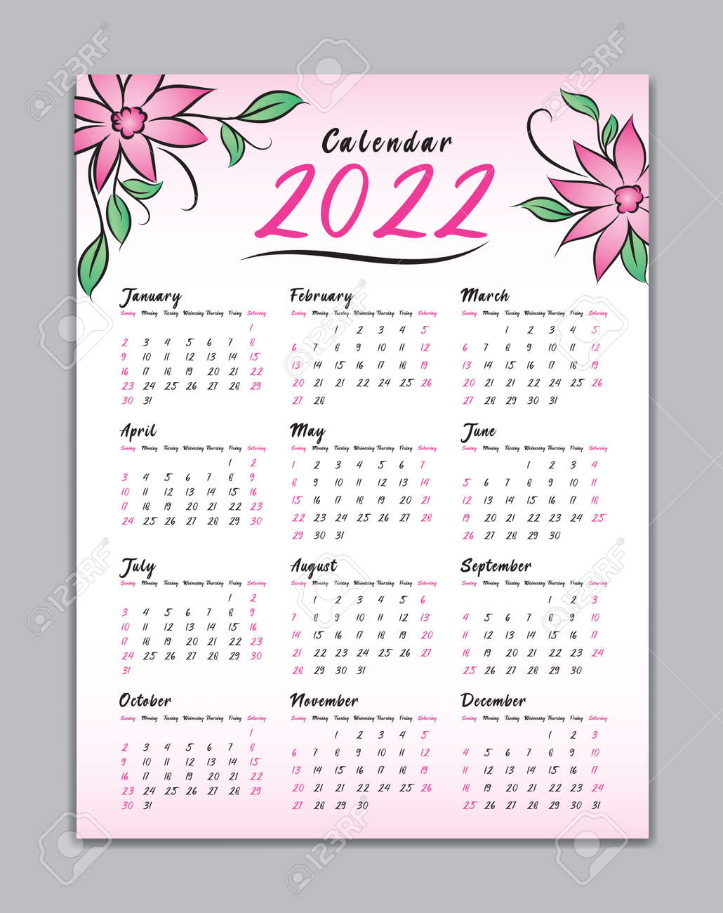 Wall Calendar 2022.Calendar 2022 Vector Template Wall Calendar 2022 Simple Minimal Royalty Free Cliparts Vectors And Stock Illustration Image 147403220