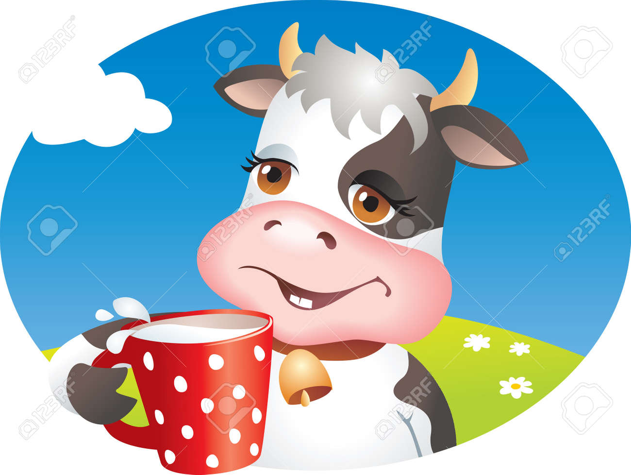 Funny cartoon cow drinking cup of milk. Lawn, flowers and sky. - 11979529