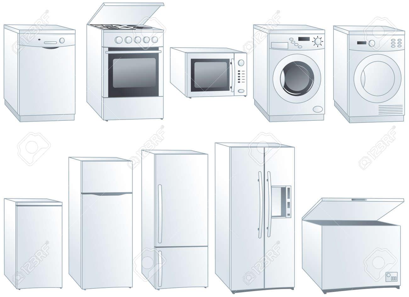 Kitchen home appliances: fridge, oven, stove, microwave, dishwasher, washing machine, dryer. - 18896084
