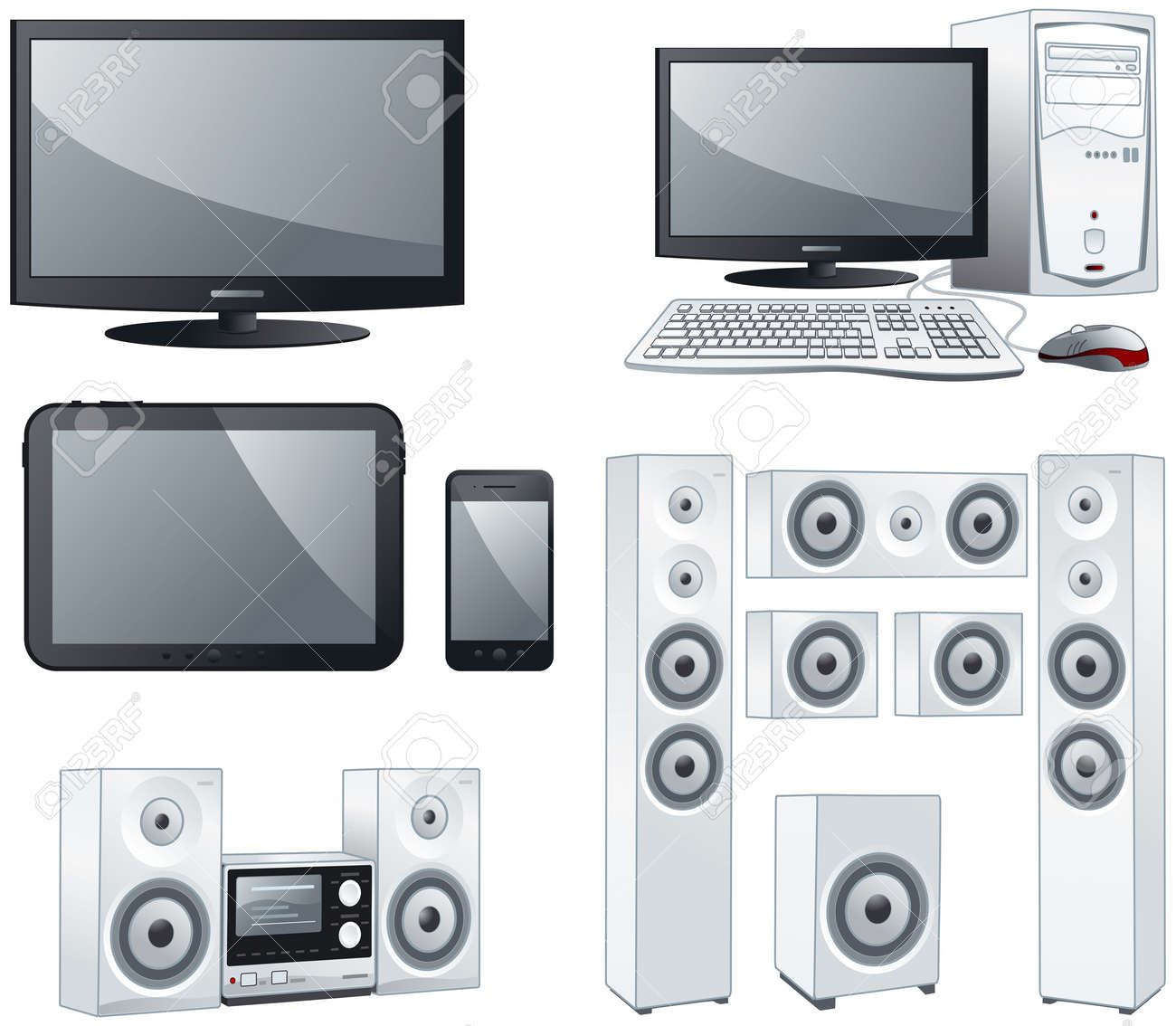 Electronic devices : TV, computer, tablet, smartphone, sound systems objects illustration set - 19695276