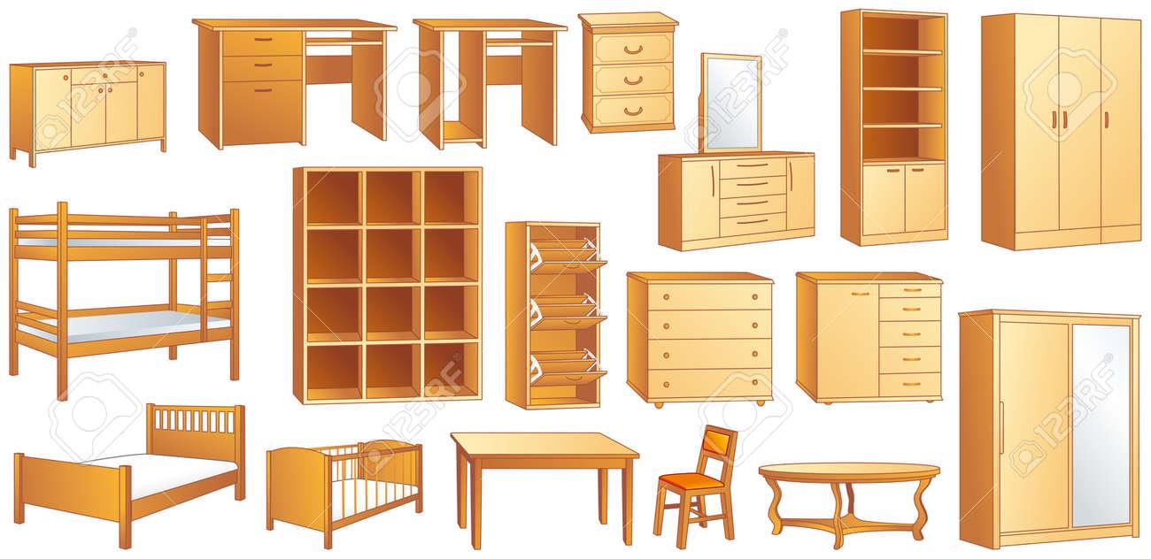 Wooden furniture set: commode, bookshelf, dresser, bunk, bed, cot, shoe case, chair, table, desk, wardrobe illustration - 19695286