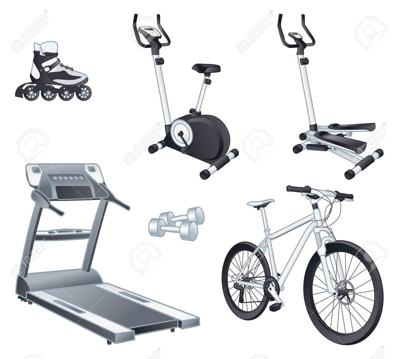 Fitness and sport equipment: rollers, stationary bicycle, stepper, treadmill, dumbbells, bicycle. - 20326022