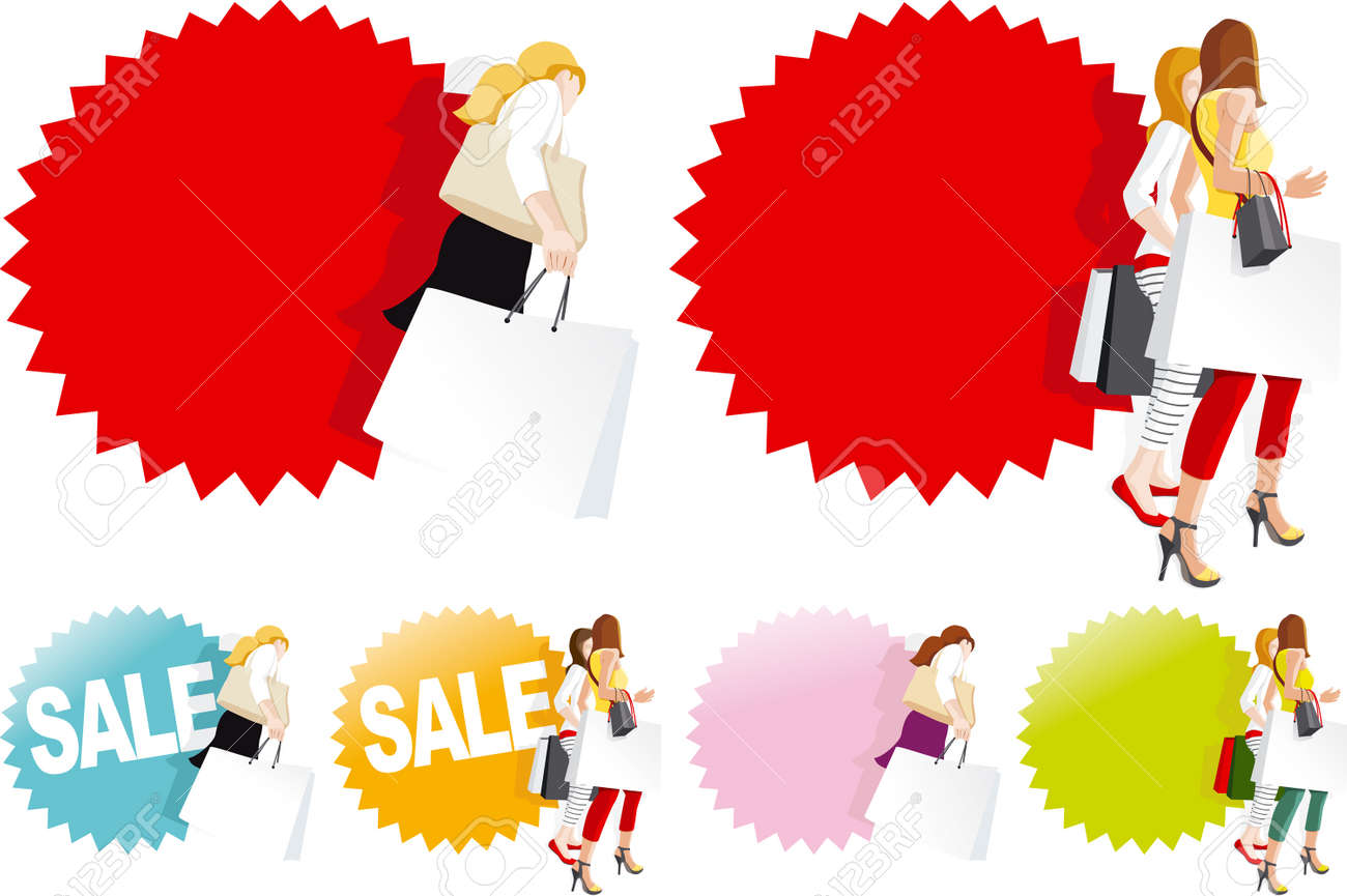 Fashionable shopping women in store, Sale sign - 22277871