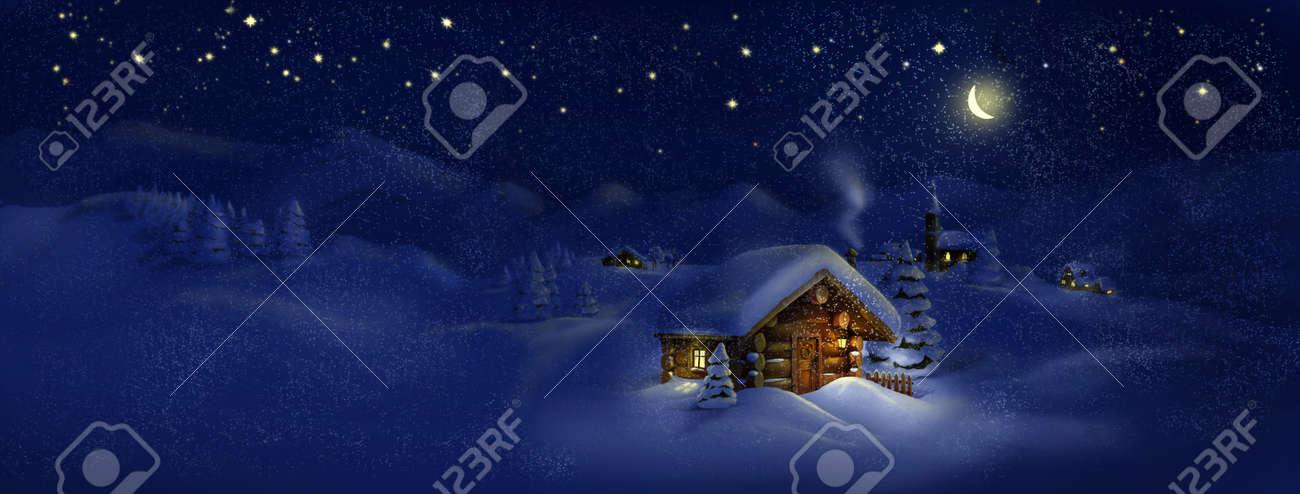 Christmas night, winter, scenic village panorama - wooden hut, lantern, snow, pine trees, church, Moon, stars Copy space, illustration - 22444153