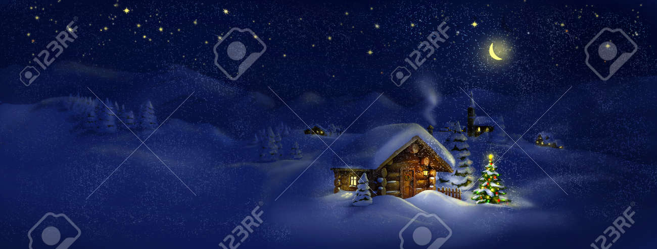 Christmas tree, lights in front of log cabin, scenic village panorama Copy space, illustration Suitable for postcard - 22528394