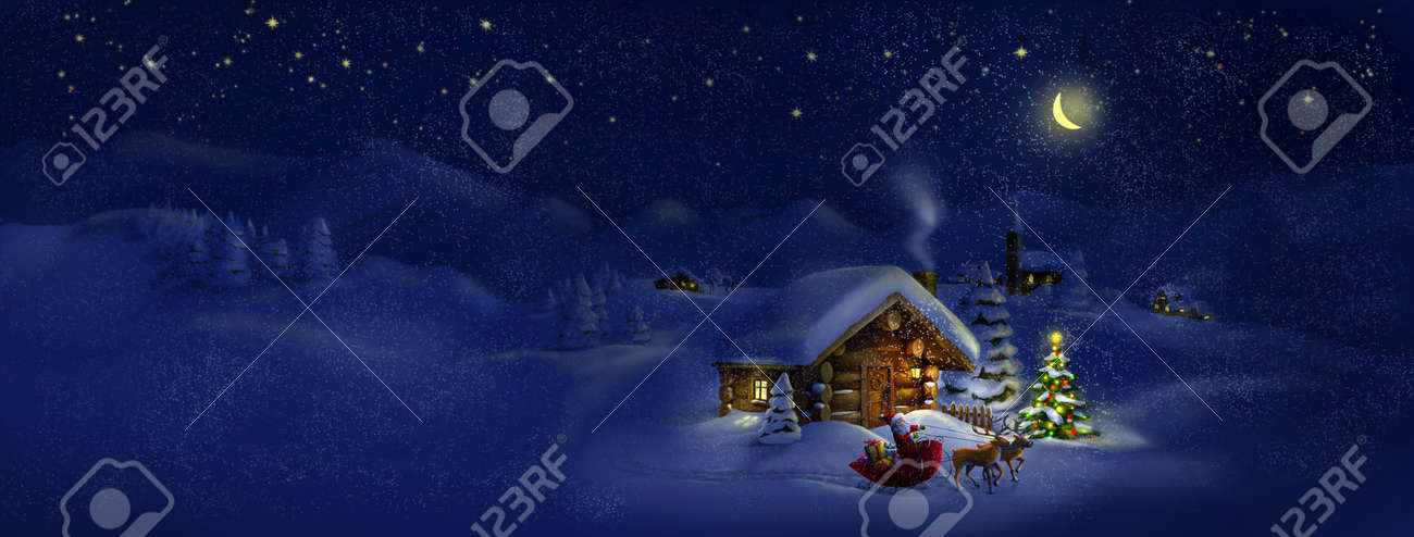 Santa Claus with sledge, presents and deers by log cabin with Christmas tree, scenic village panorama Copy space, illustration - 22611499