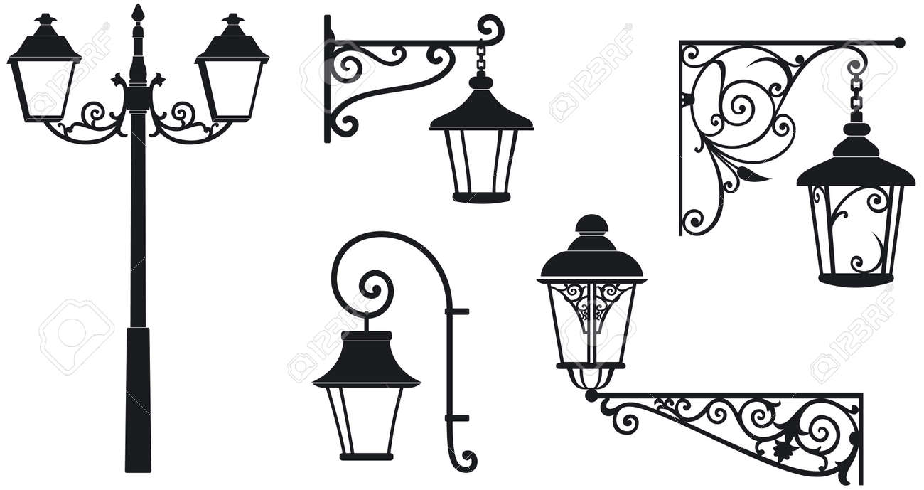 Iron wrought lanterns with decorative ornaments Vector illustration - 23328986