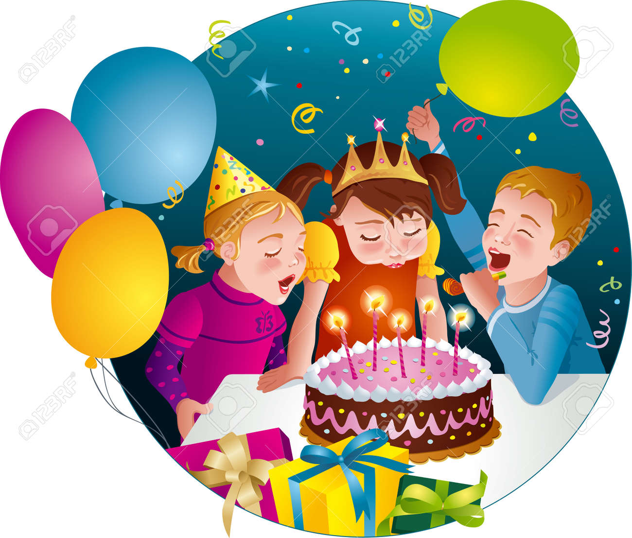 Child s birthday party - kids having fun, blowing candles on cake Balloons, whistles, presents Vector illustration - 24180875