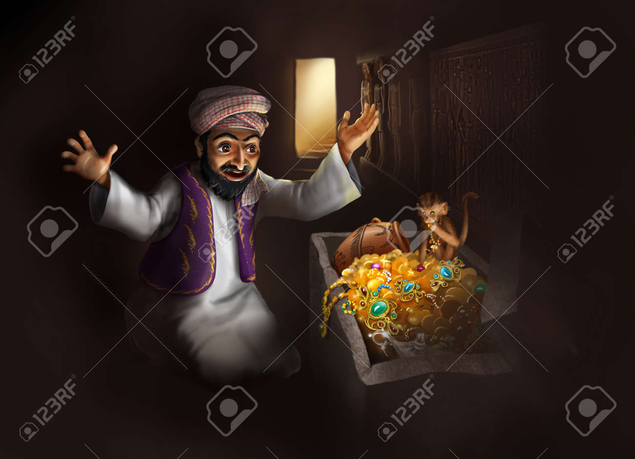 Treasure of Egypt - Arabic man in traditional clothing and monkey discovering treasure chest with gold artifacts - funny cartoon illustration - 28110104