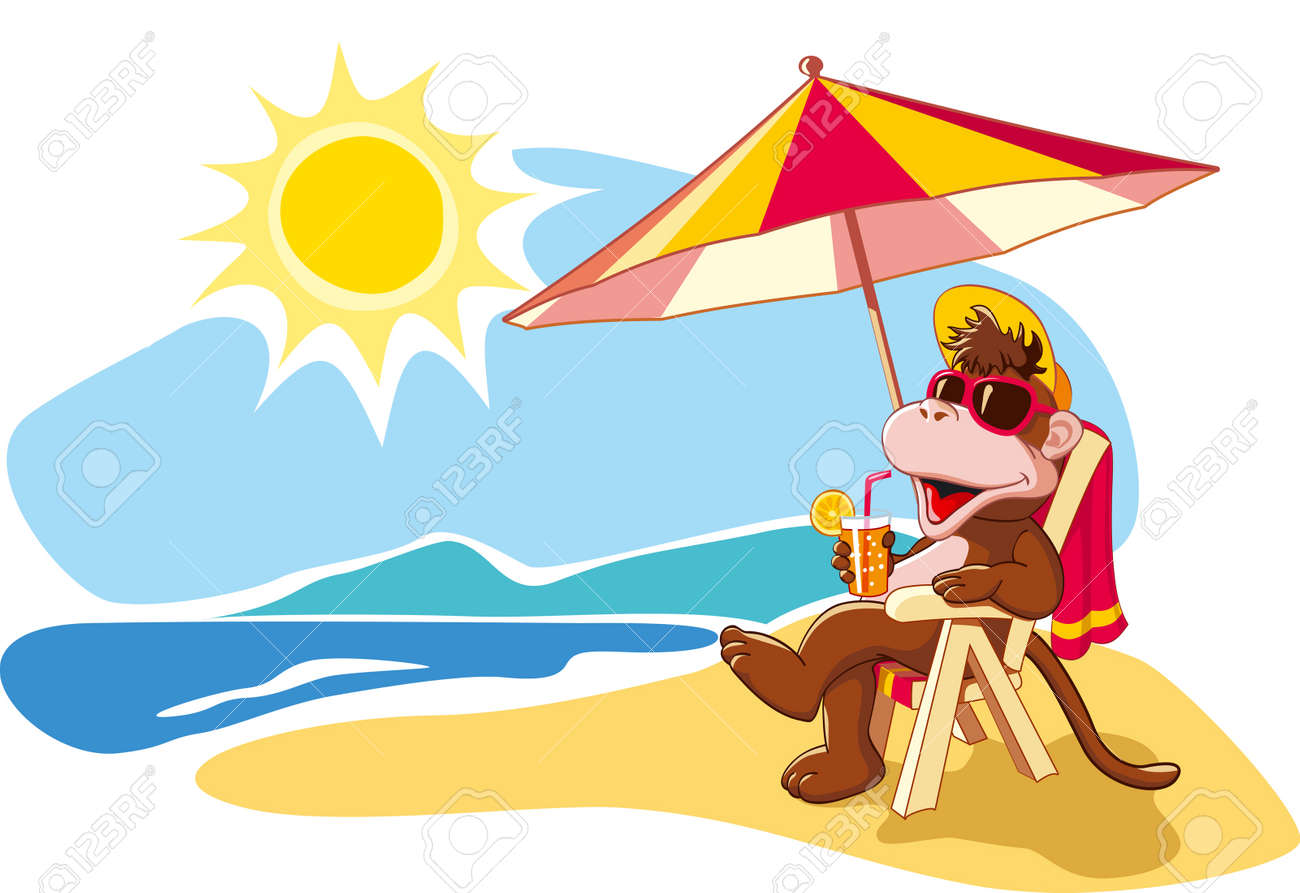 Funny cartoon monkey relaxing on beach chair by sea in summer vacation Vector illustration - 30168120