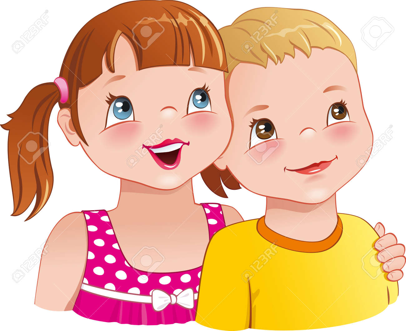 Little girl hugging a boy - cute kids looking up and smiling happily - 30852211