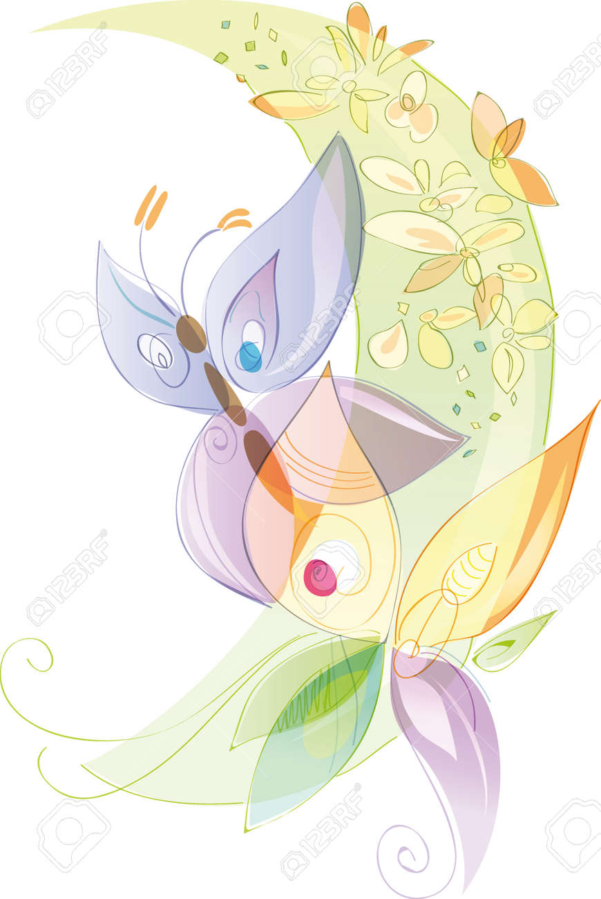 Butterflies and flowers, spring and summer season. Artistic vector illustration with transparencies, pastel colors - 39092764