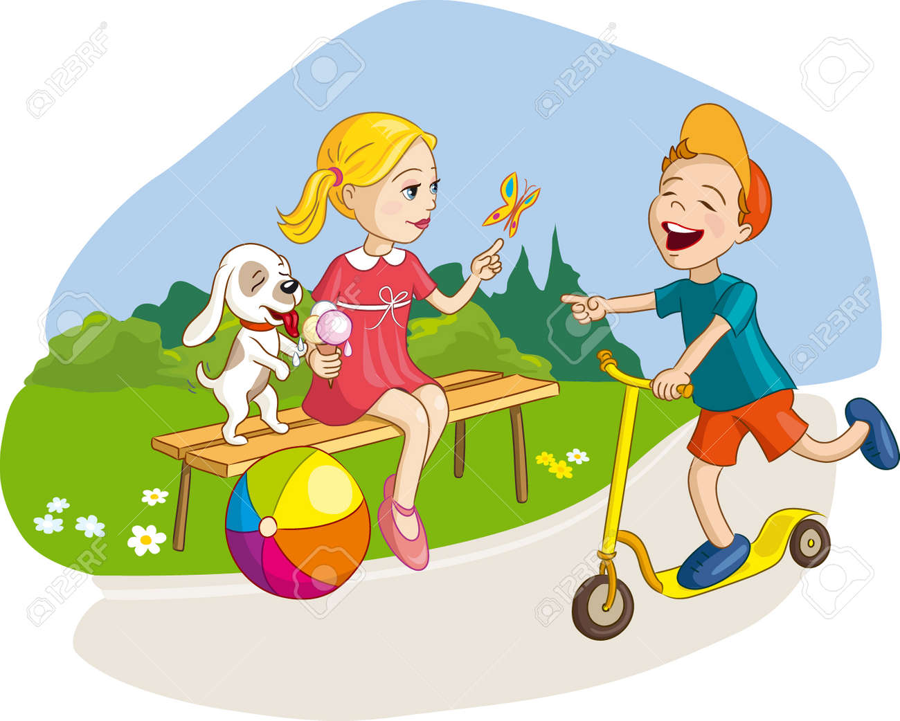 Girl, boy and dog having fun, summer vacation in park with ice-cream and scooter. Vector illustration for kids, children - 60261360
