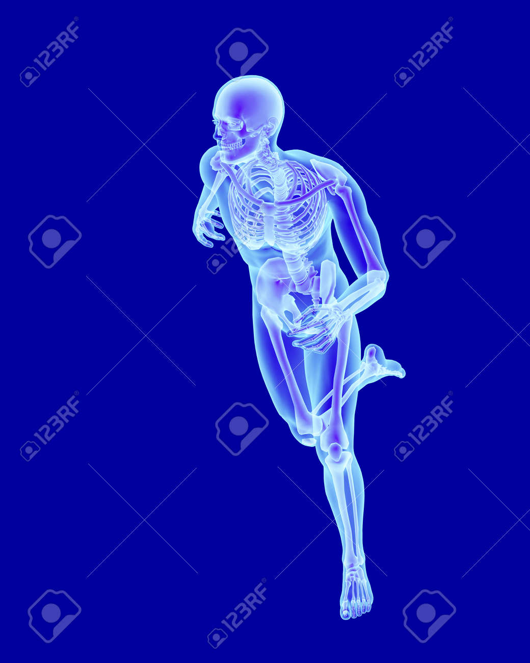 X-ray Scan Anatomy Of A Running Man With Visible Skeleton Stock ...