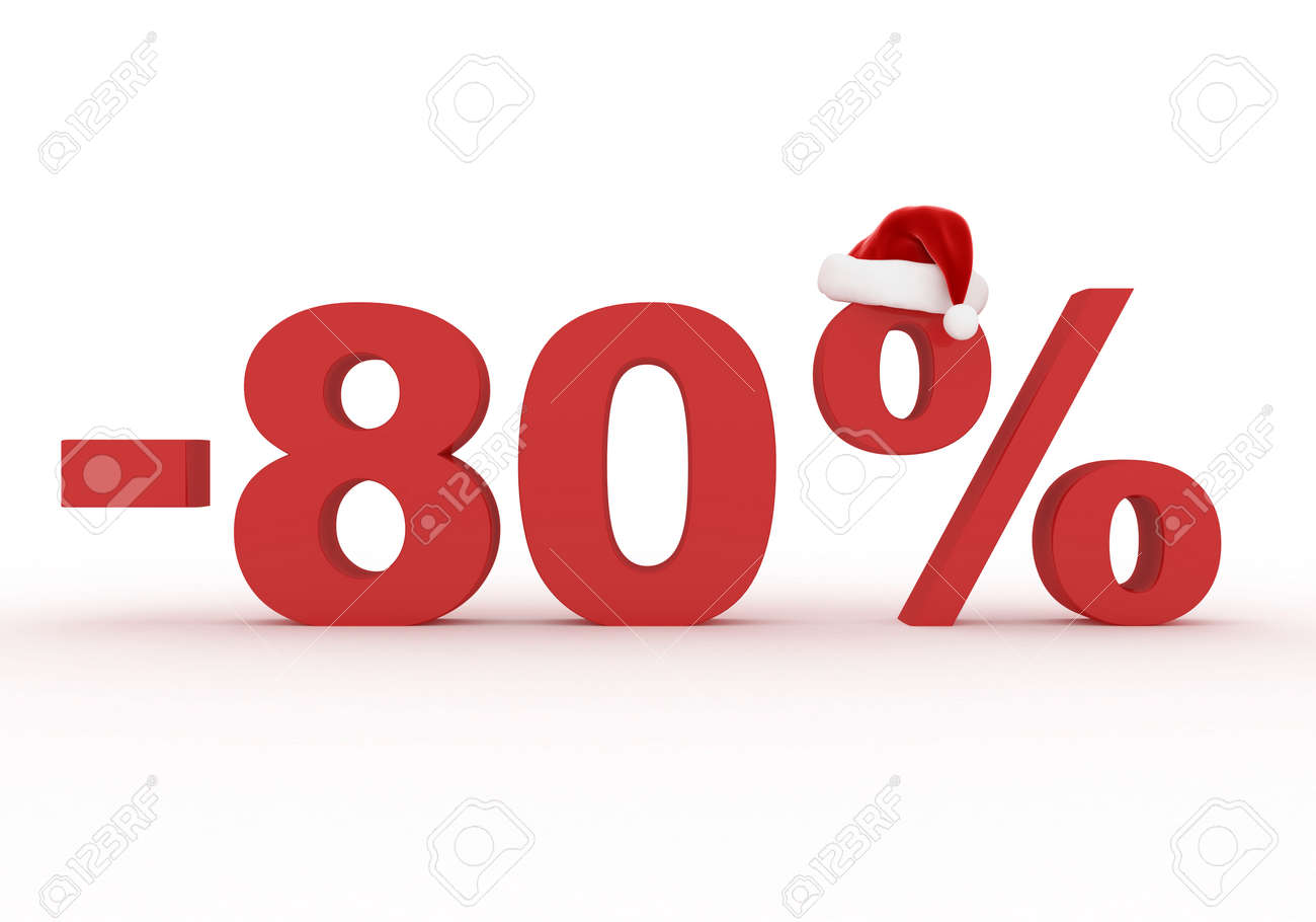 80 percent discount sign as a symbol of christmas sales in the 80 percent discount sign as a symbol of christmas sales in the hat of santa claus biocorpaavc