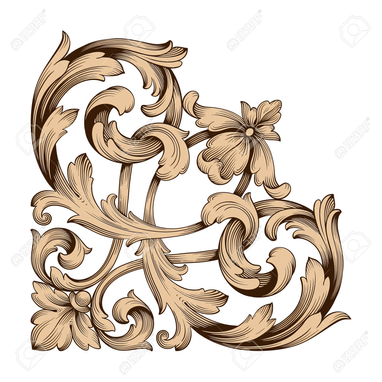 classical baroque vector of vintage element for design decorative rh 123rf com filigree victorian moldings filigree vector image