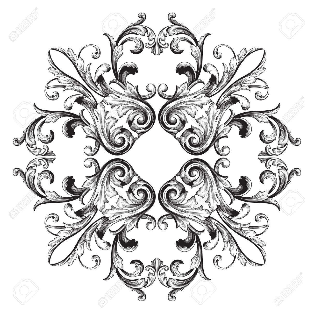 vector vintage baroque frame scroll ornament engraving border floral retro pattern antique style acanthus foliage swirl decorative design element filigree