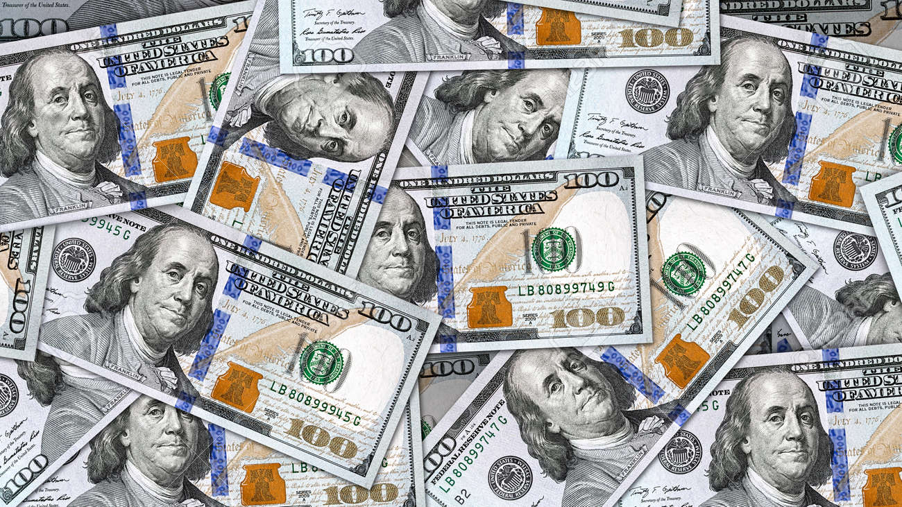 Money Background With Lots Of New 100 US Dollar Bills. Ready To Be Use As  Background In 8K, 4K Or HD Video Movie Resolution In 16:9 Aspect Ratio.  Stock Photo, Picture And