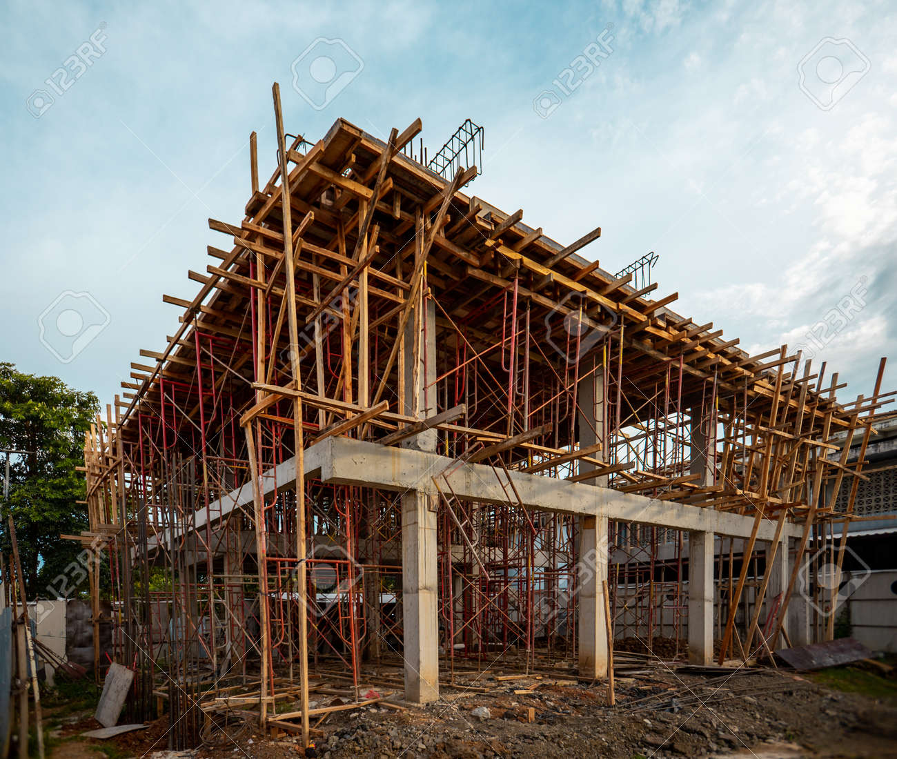 Construction In Progress  Two Floor or Storey House Is Being