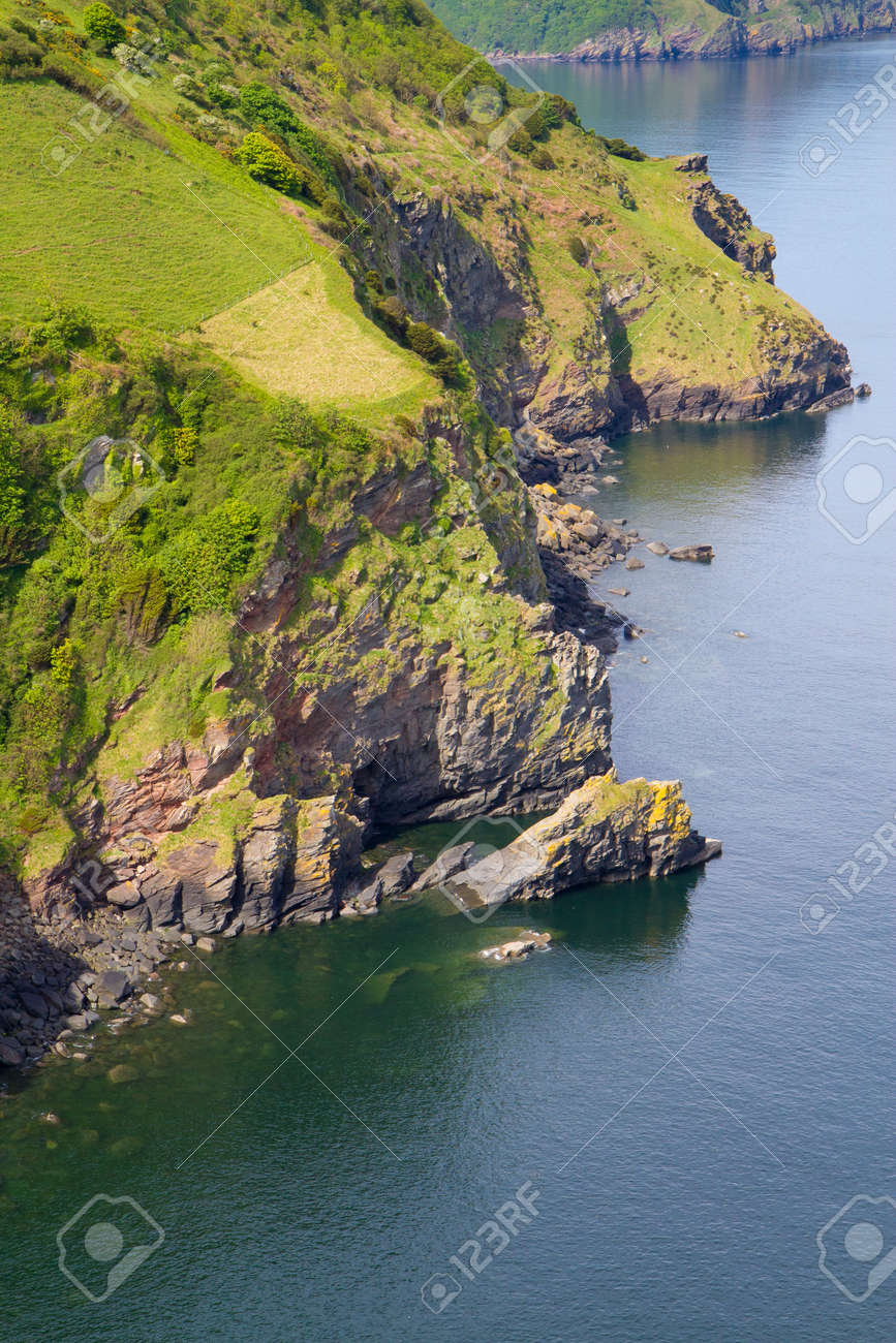 Devon coastline near Lynton from the top of the Valley of the Rocks Stock Photo - 14172044