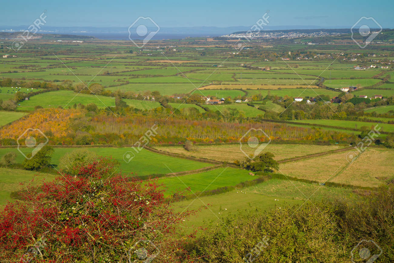 View from Brent Knoll Somerset towards Flat Holm Weston-super-Mare and Bristol Channel Stock Photo - 16048139