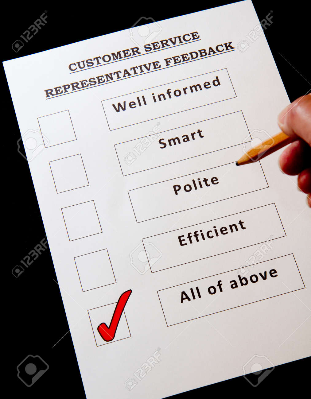 Customer Service Feedback Form with options for rating service Stock Photo - 16959364