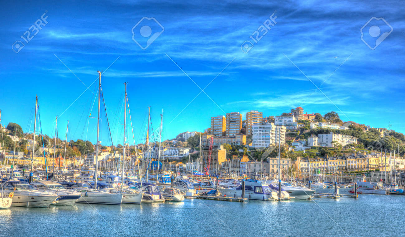 Torquay Devon Uk On Beautiful Day On The English Riviera In Colourful Stock Photo Picture And Royalty Free Image Image 78804745