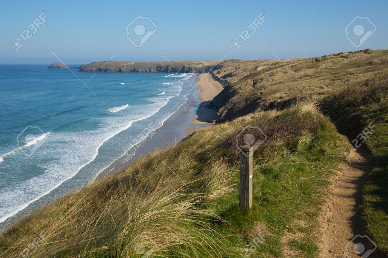 South west coast path view to Perran sands beach near Perranporth North Cornwall England - 121436855