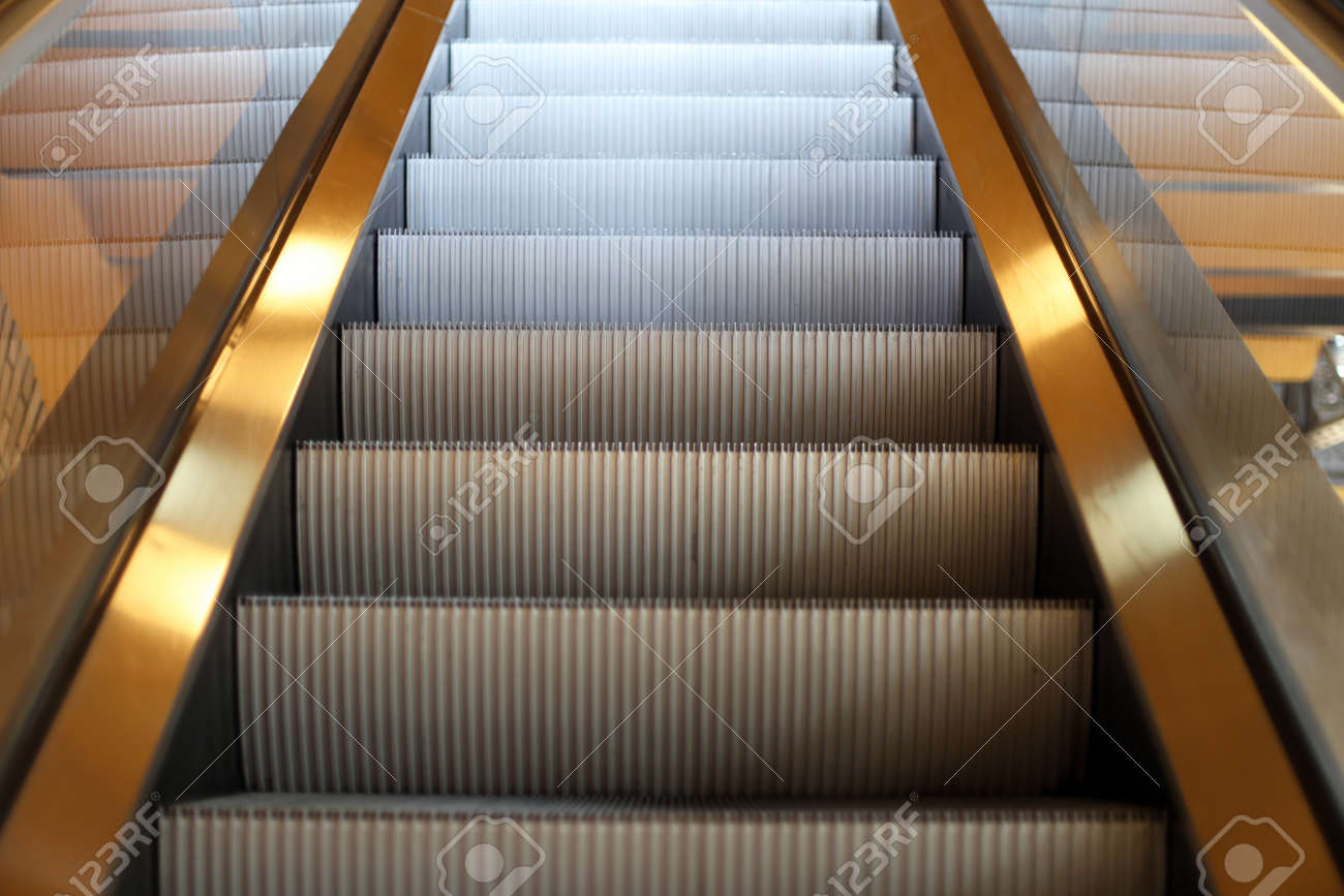 Great Moving Staircase To The Next Floorin The City Mall Stock Photo   46145466
