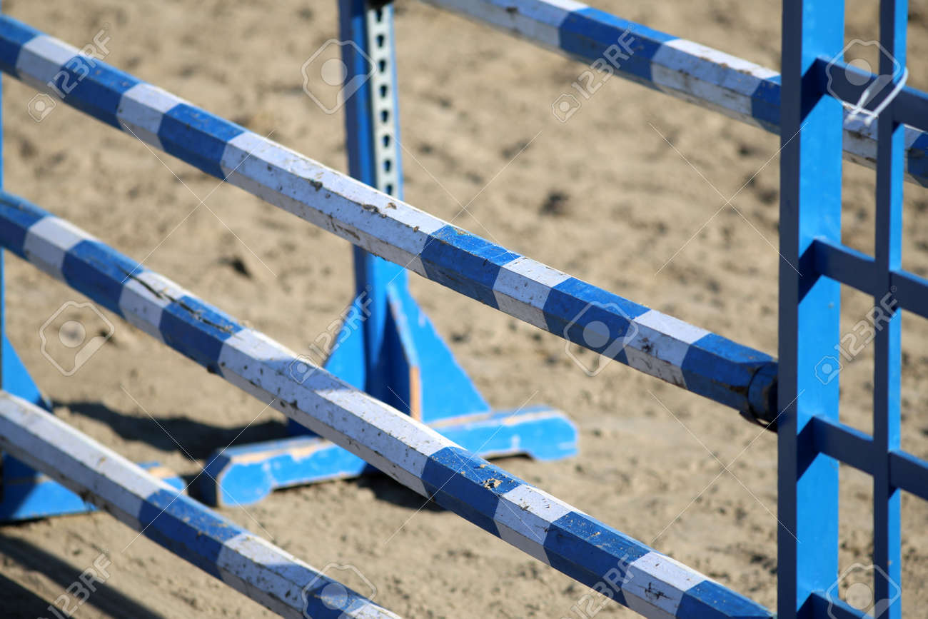 Blue Colored Oxer On The Sand For Jumping Horses As A Background Stock Photo Picture And Royalty Free Image Image 48003671