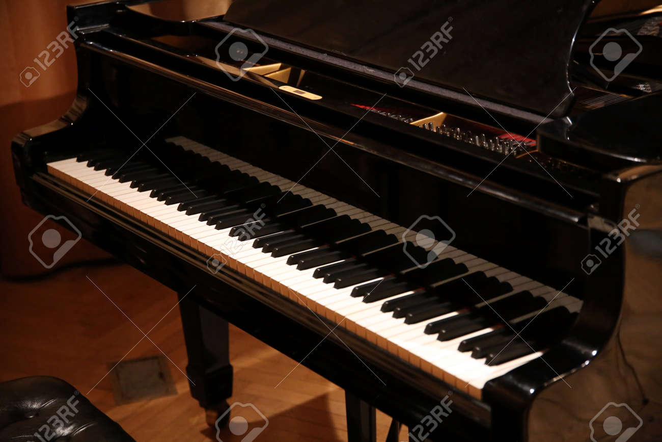 Close Up Of A Grand Piano With Black And White Piano Keys Stock ...