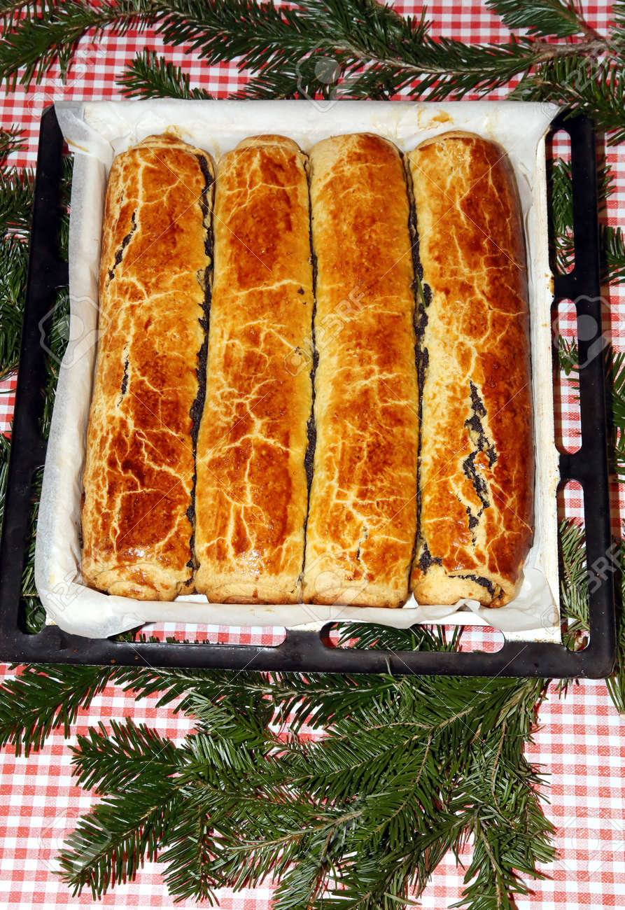 Hungarian Christmas Traditions.Homemade Traditional Poppy Seed And Walnut Rolls For Christmas