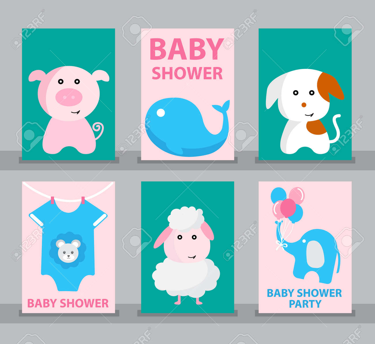 Set Of Baby Shower Baby Shower Card Happy Birthday Greeting