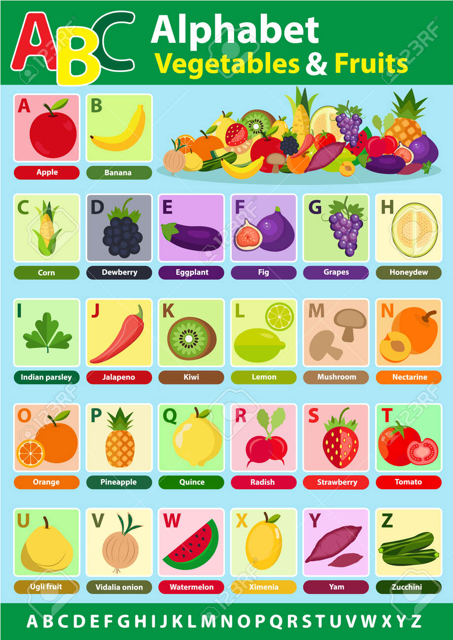English Alphabet For Student With Fruits And Vegetables Back Royalty Free Cliparts Vectors And Stock Illustration Image 80046867