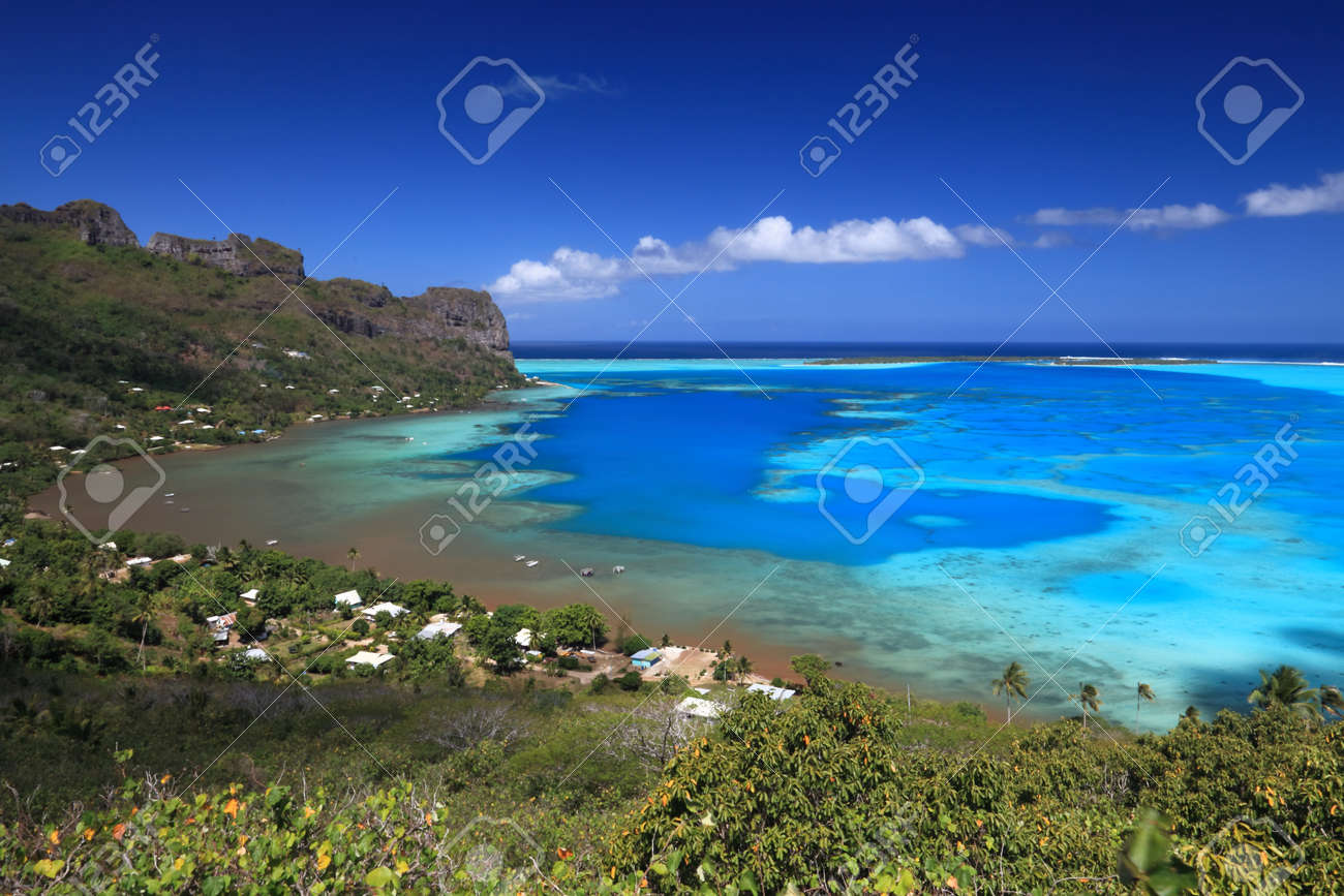 Colorful Lagoon of Maupiti, French Polynesia from above. Stock Photo - 11601038
