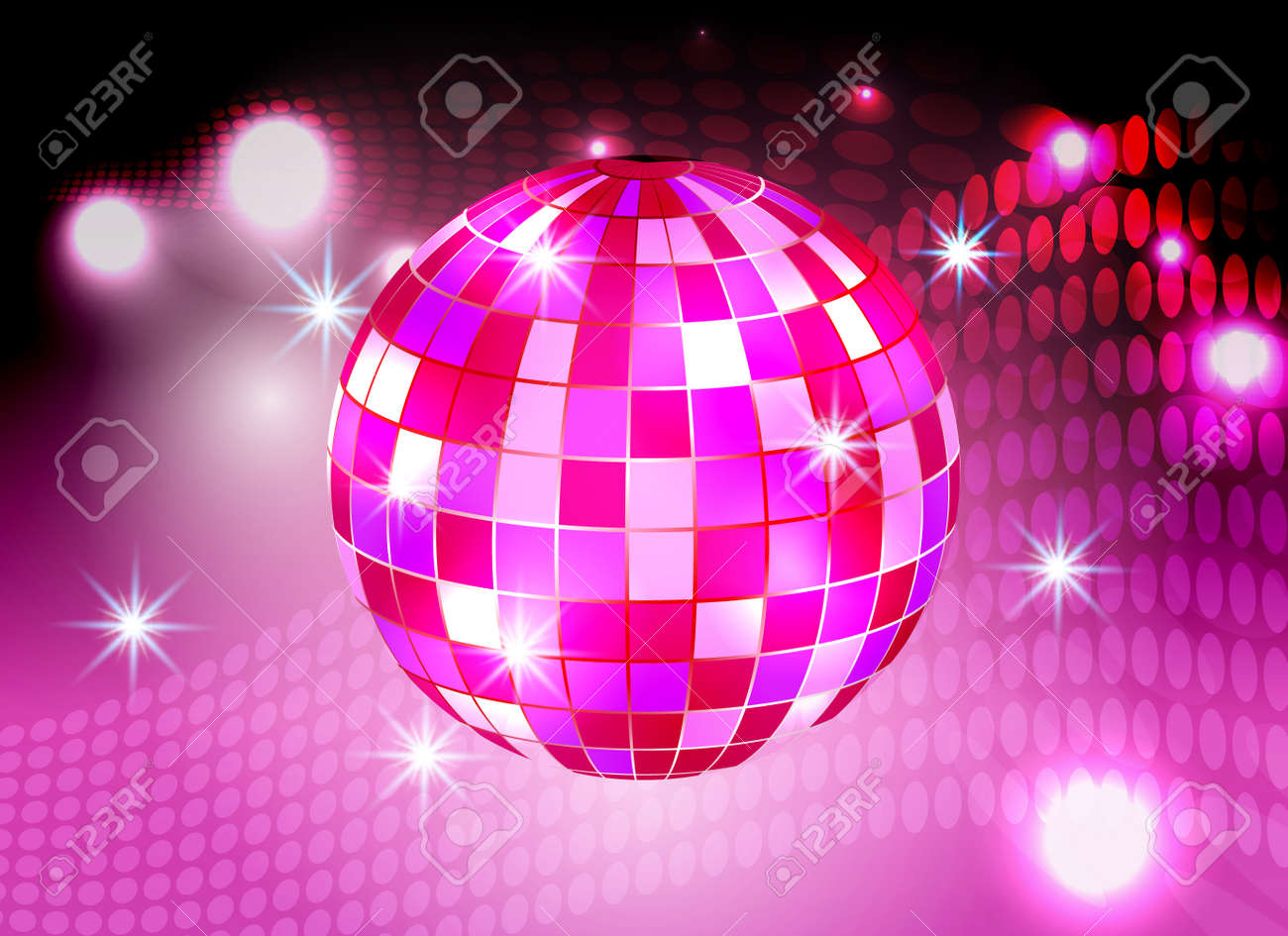 Disco Ball Night Party Pink Lights Background Stock Vector