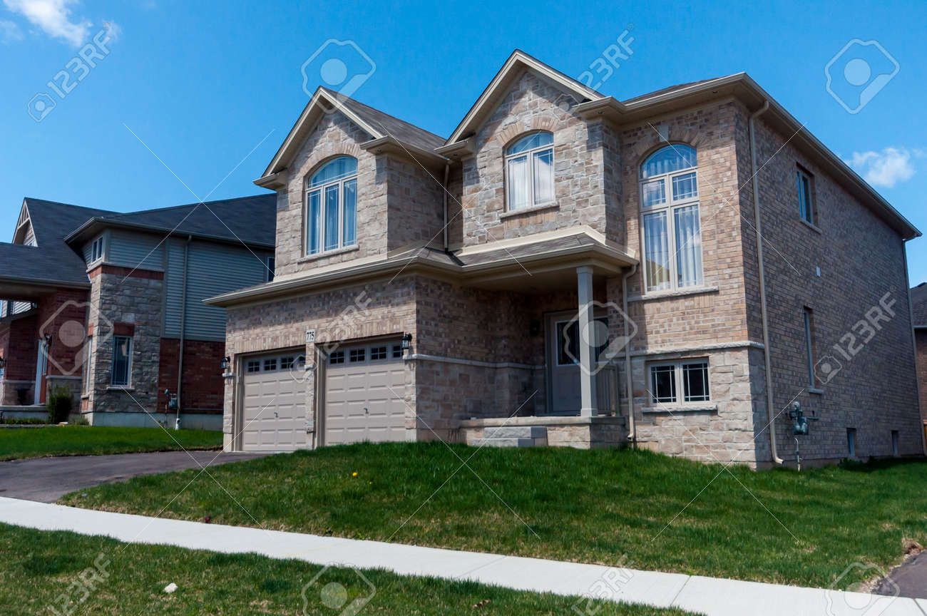 View At New Houses In A New District Of The Kitchener City, Ontario, Canada